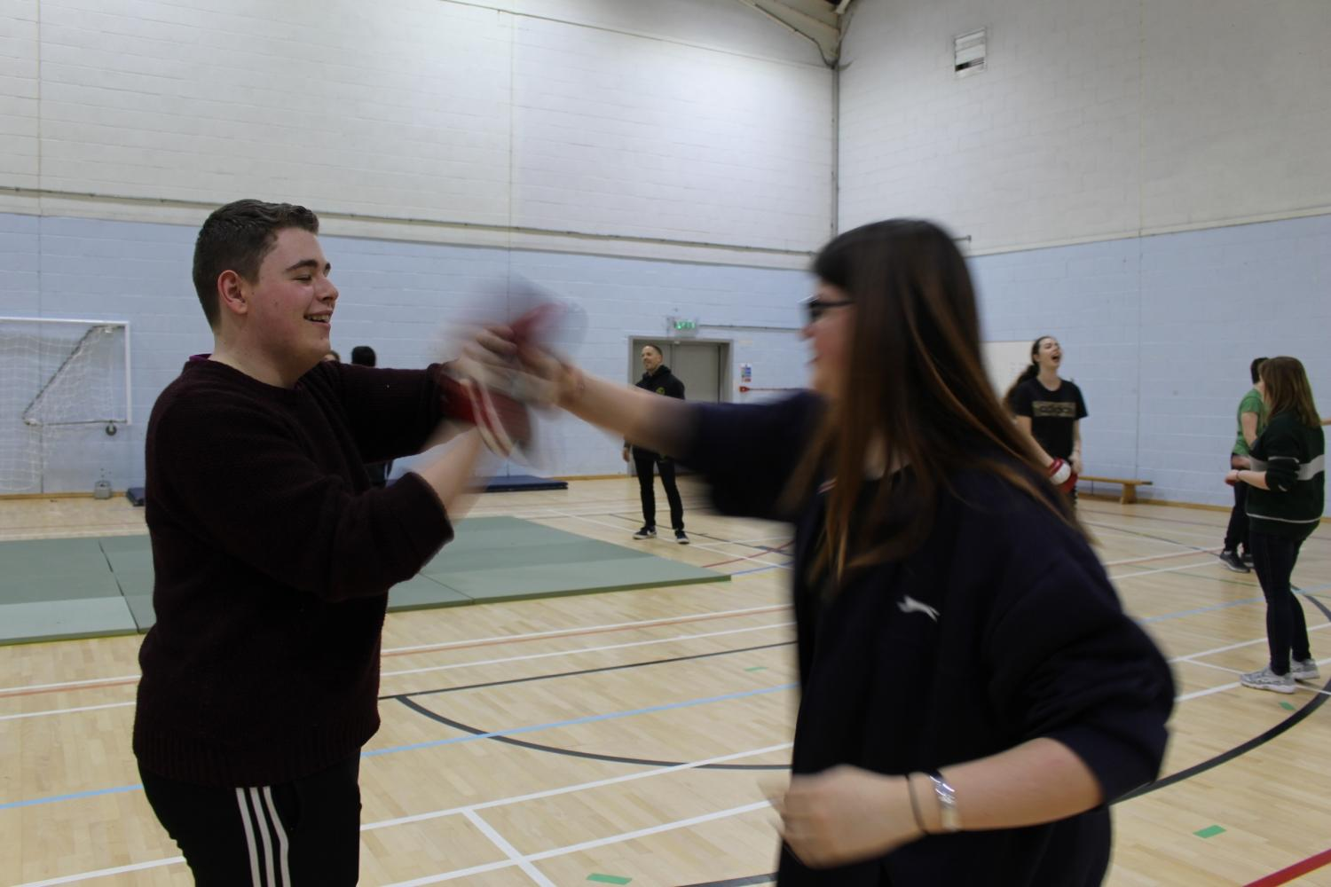 Students took part in a self-defence class